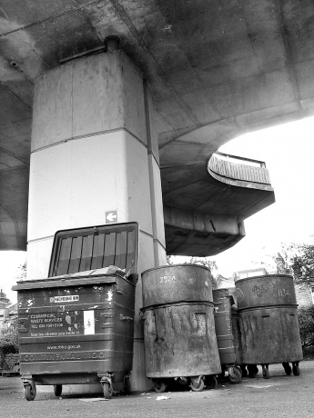 Bins under the Westway in North Kensington
