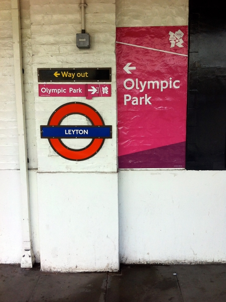 Olympic signage at Leyton station