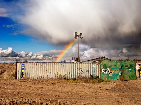 Essex Edgelands: Rainbow over Tilbury, October 2012 - click to enlarge