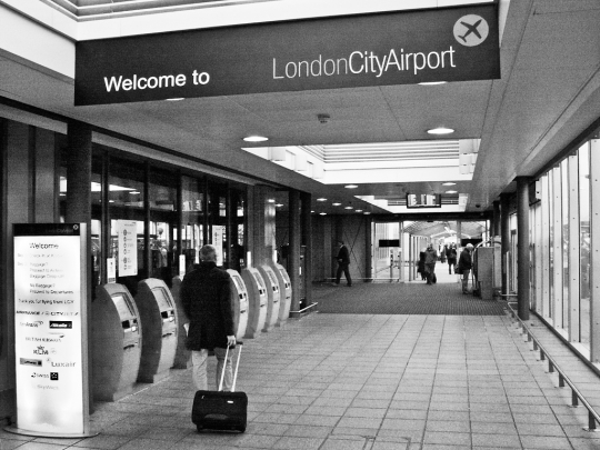 London City Airport, entrance from DLR - click to enlarge