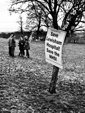 Save Lewisham Hospital protest, Mountsfield Park, Catford - click to enlarge