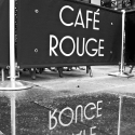 Cafe Rouge, Greenwich, in the rain - click to enlarge