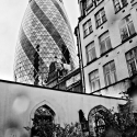 30 St Mary Axe from St Ethelburga's churchyard - click to enlarge